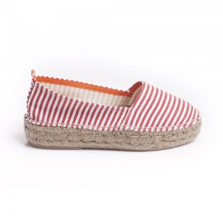 L'espadrille camping rayures rouges 16