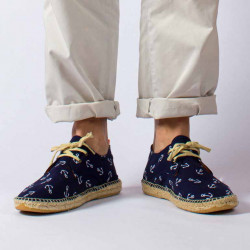 Men's textile Blucher-type espadrilles